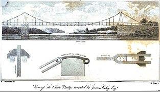Dibujo técnico del Puente de las Cadenas en las cataratas de Schuylkill