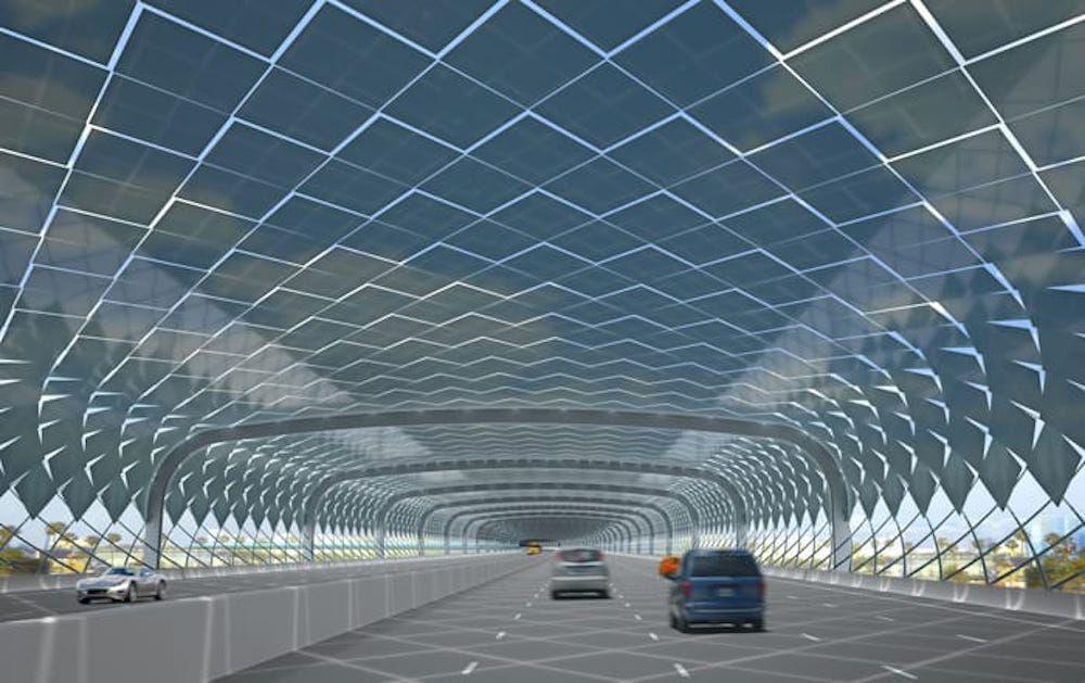 Simulación de cubierta solar desde abajo